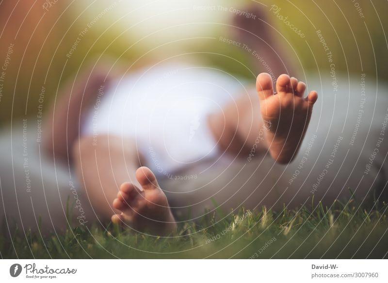 winzige Füße Mensch Kind Baby Junge Eltern Erwachsene Kindheit Leben Körper Fuß 1 0-12 Monate Kunst Umwelt Natur Sommer Schönes Wetter liegen entdecken forschen