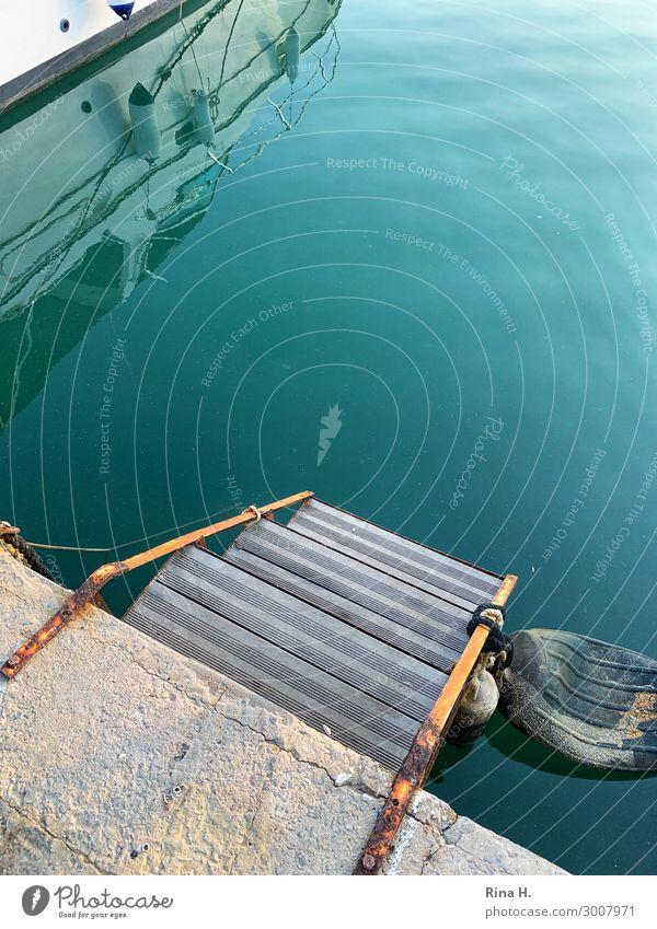 Erfrischung Ferien & Urlaub & Reisen Ausflug Wasser Sommer Sportboot Jacht Segelboot türkis Einstieg (Leiter ins Wasser) Anlegestelle Jachthafen Boje