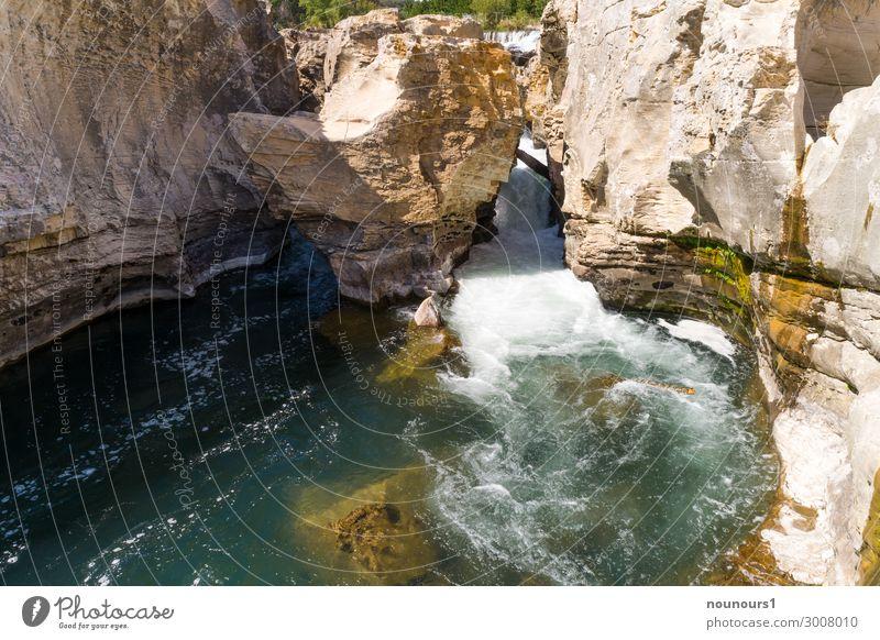 Cascade de Sautadet an der Ceze Natur Landschaft Wasser Sommer Schönes Wetter Felsen Schlucht Wellen Fluss Wasserfall Sehenswürdigkeit außergewöhnlich