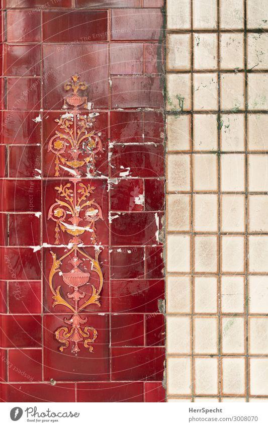 Old & nice Mauer Wand Fassade alt schön Stadt rot weiß Fliesen u. Kacheln Wandverkleidung Dekoration & Verzierung Blumenranke Patina Vergänglichkeit