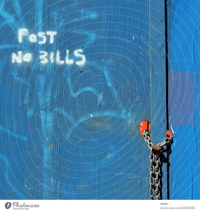 Bills forbidden, all other guys allowed (II) Baustelle New York City Mauer Wand Tür Türschloss Kette Holz Metall Schriftzeichen Schilder & Markierungen