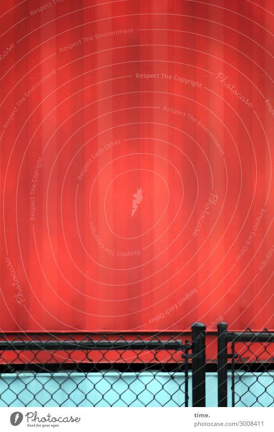 metal types (I) Arbeit & Erwerbstätigkeit Baustelle Container Mauer Wand Zaun Maschendraht Maschendrahtzaun Gitter Metall Stahl Linie stark rot schwarz