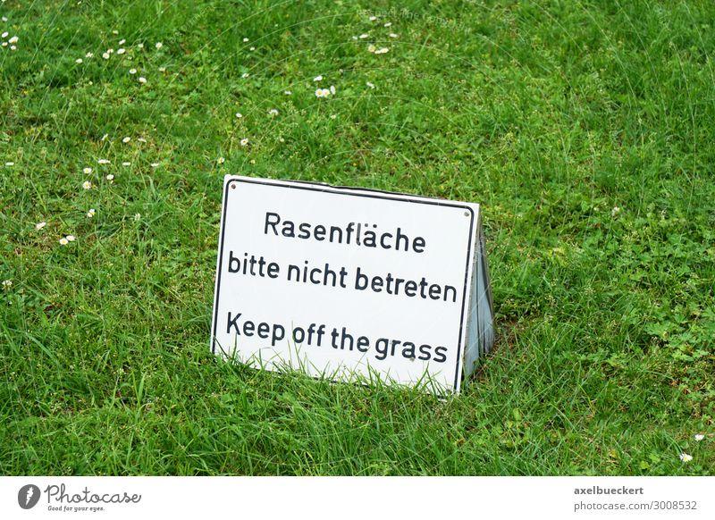 Rasenfläche bitte nicht betreten Freizeit & Hobby Spielen Sommer Natur Gras Garten Park Wiese Schilder & Markierungen Hinweisschild Warnschild Verbote
