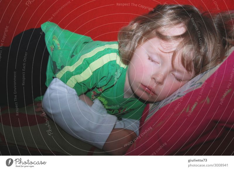 Kleiner Junge beim Mittagsschlaf, nur eine Stunde kurz... Kind Mensch schön Erholung ruhig Gesundheit Liebe natürlich träumen liegen blond Kindheit niedlich