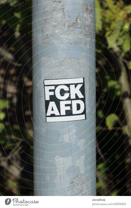 FCK AFD Aufkleber an Laternenmast Kunst Medien Zeichen Schriftzeichen Schilder & Markierungen Hinweisschild Warnschild Kommunizieren Aggression rebellisch