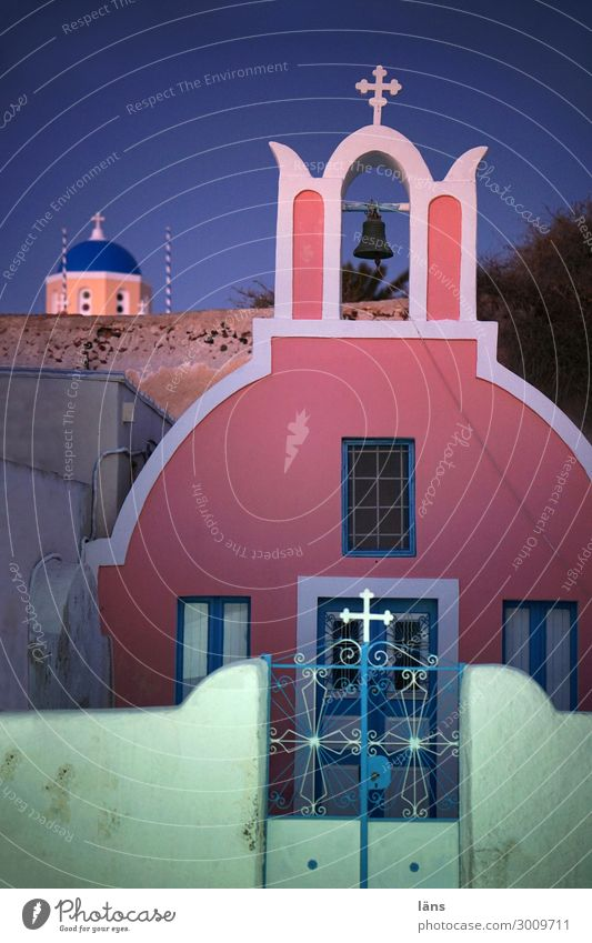 Kreuz dichte Ferien & Urlaub & Reisen Tourismus Ausflug Haus Oia Griechenland Stadt Kirche Tor Bauwerk Mauer Wand Tür blau grün rosa Neugier Interesse Hoffnung