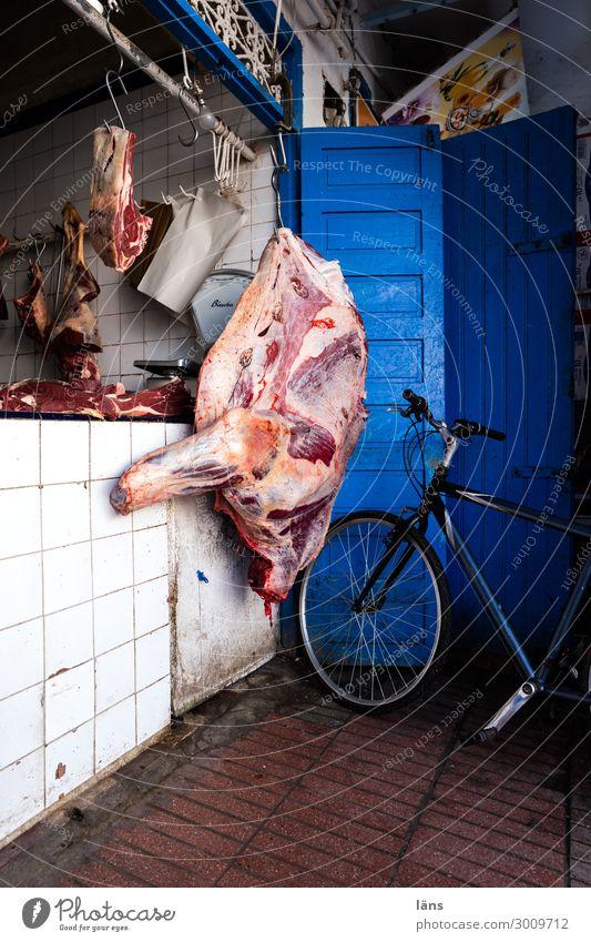Metzgerei Lebensmittel Fleisch Ernährung Essaouira Marokko Afrika Haus hängen außergewöhnlich blau Handel Vergänglichkeit Fahrrad Fleischerhaken verkaufen