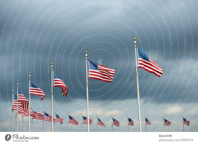 Amerika Lifestyle Reichtum elegant Stil Design Kunst Kunstwerk Gemälde Skyline überbevölkert dunkel Fahne Nationalflagge Patriotismus Weltmacht viele Wind wehen