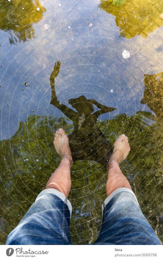 tanzen ll Freude Tanzen Mensch maskulin Mann Erwachsene Leben Beine 1 Wasser Hose Fröhlichkeit Stimmung Glück Lebensfreude Begeisterung Bewegung stagnierend