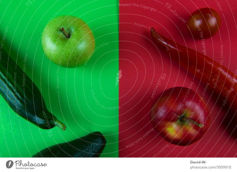 grün und rot Lebensmittel Gemüse Frucht Ernährung Essen Bioprodukte Vegetarische Ernährung Diät Fasten Kunst Kunstwerk Gemälde sportlich Vitamin