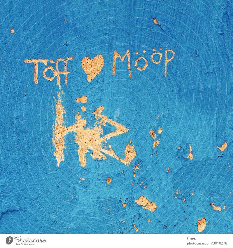 wo die Liebe hinfällt ... blau Farbe Leben Graffiti gelb Wand Glück Mauer Stimmung Design Dekoration & Verzierung wild Schriftzeichen Kommunizieren Herz