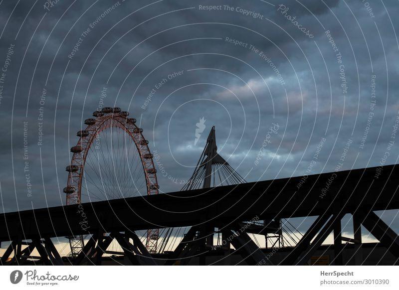 evening sky with eye Ferien & Urlaub & Reisen Tourismus Ausflug Sightseeing Städtereise Entertainment Jahrmarkt London Hauptstadt Skyline Brücke