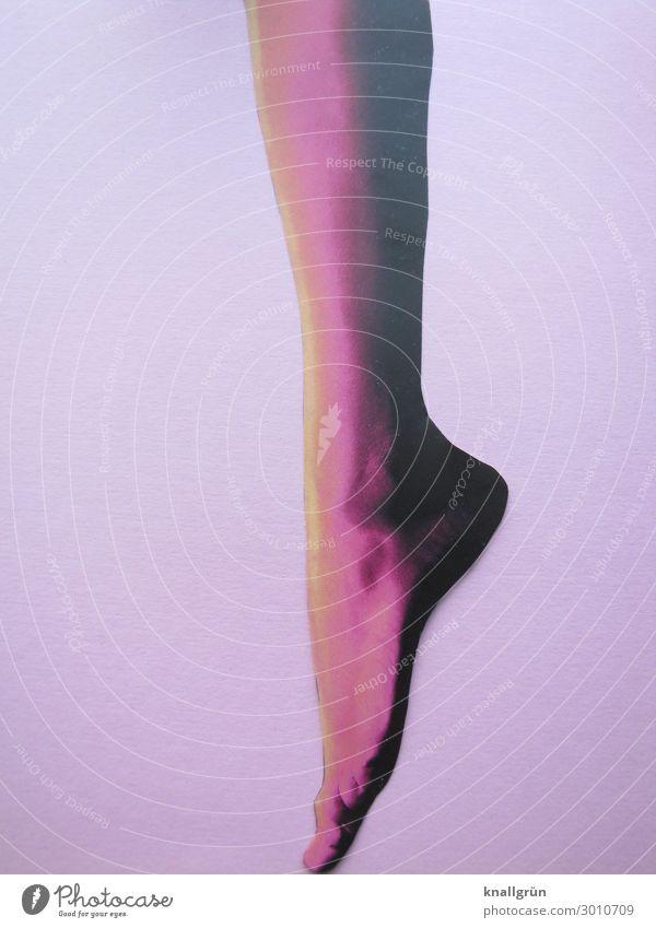 Spitze Mensch feminin Frau Erwachsene Beine Fuß 1 stehen Erotik gelb violett rosa Gefühle schön ästhetisch Zehenspitze Farbfoto Studioaufnahme
