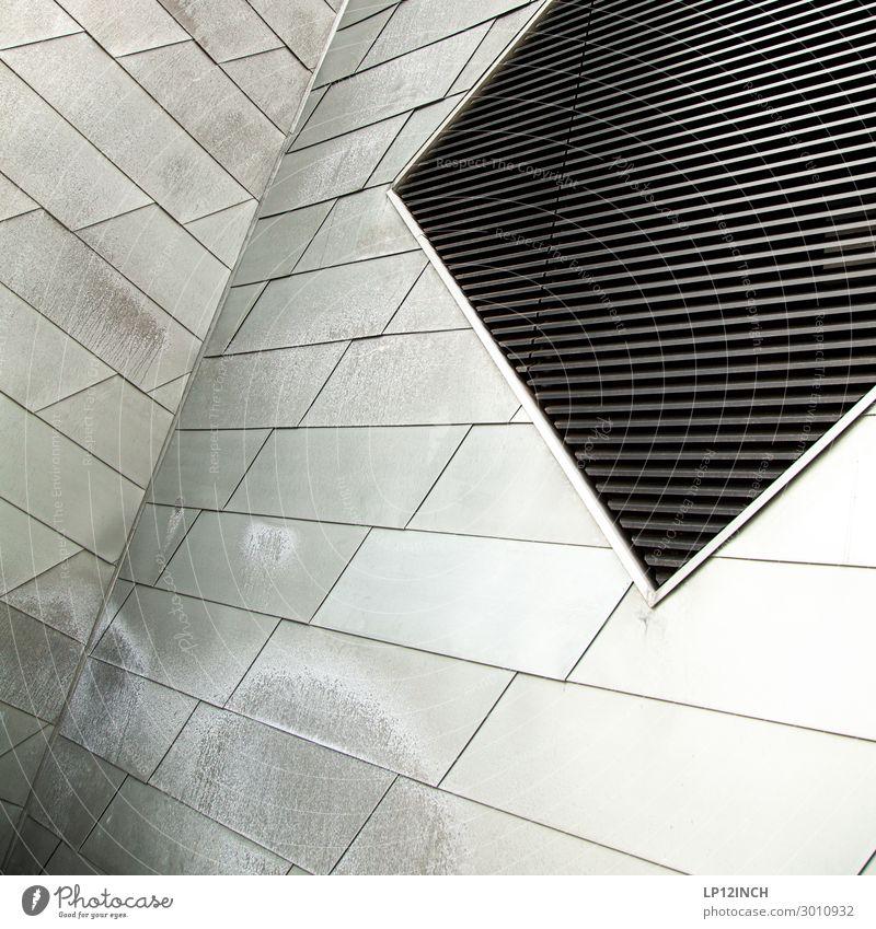 Ein liebes Kind I Haus schwarz Architektur Gebäude Fassade grau Linie Metall modern elegant ästhetisch Zukunft Ecke Streifen Netzwerk Fabrik