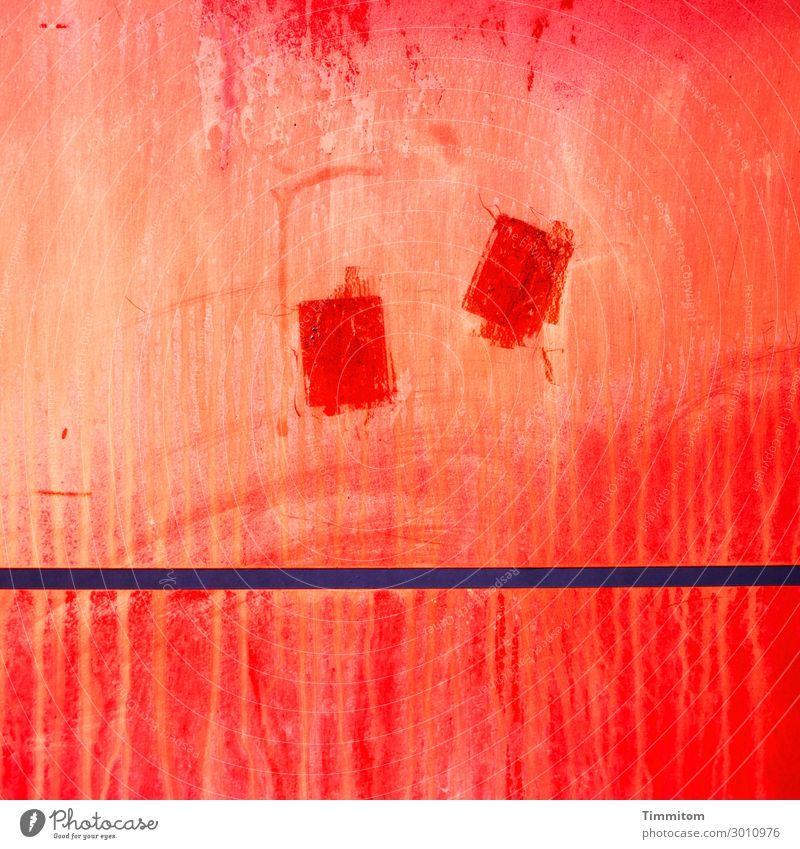 Stimmungsbild blau rot Traurigkeit Gefühle Linie Metall warten ratlos