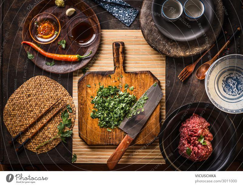 Asiatische Küche Lebensmittel Fleisch Kräuter & Gewürze Öl Ernährung Bioprodukte Geschirr Stil Gesunde Ernährung Restaurant Design herbs wooden cutting board