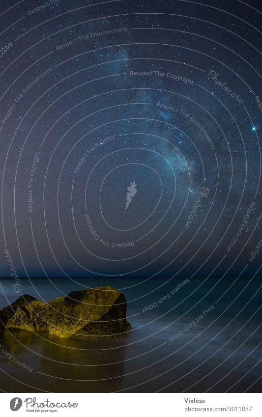 luftig | bis nach oben Himmel Natur Landschaft Meer Strand dunkel Küste außergewöhnlich Erde leuchten träumen Wellen glänzend fantastisch Stern beobachten