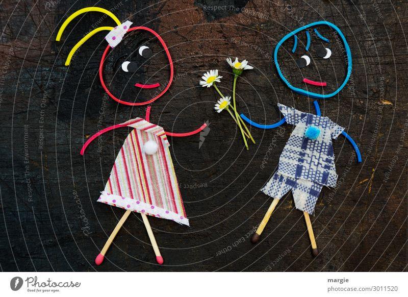 Alles Liebe zum Valentinstag Feste & Feiern Mensch maskulin feminin Kind Mädchen Junge 2 Pflanze Blume blau mehrfarbig rot Collage schenken Gummi Gänseblümchen