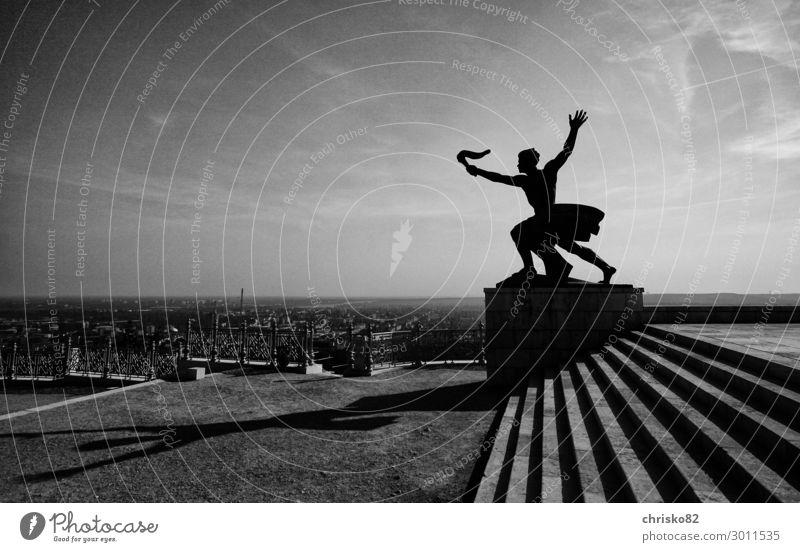 Flamme der Freiheit Jugendliche Junger Mann Kunst maskulin Kraft Kultur Beginn Sehenswürdigkeit Hoffnung Zusammenhalt Städtereise Denkmal Sightseeing Mut