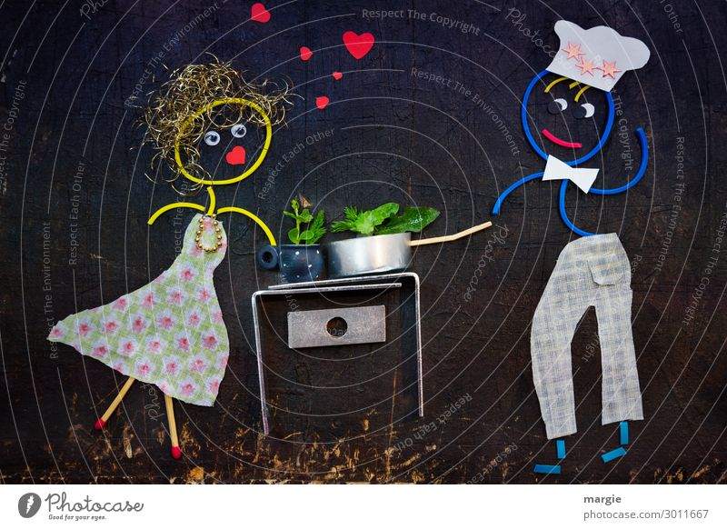 hier riechts doch nach...l Liebe Herzmund Strichmännchen zwei Erotik Lust Zusammensein Verliebtheit Farbfoto Innenaufnahme Studioaufnahme Nahaufnahme