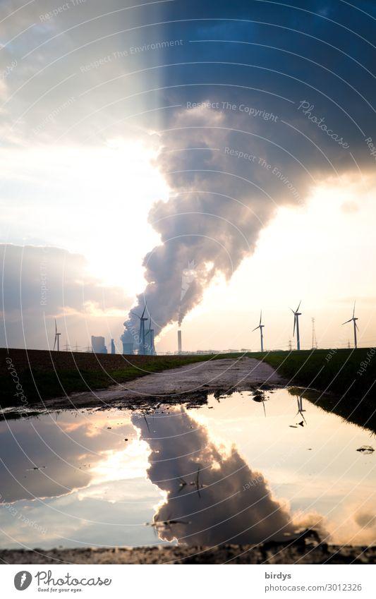 Braunkohlenkraftwerk Niederaußem Himmel Wasser Sonne Wolken Horizont Energiewirtschaft authentisch Schönes Wetter Fußweg bedrohlich Zukunftsangst Rauch Rauchen
