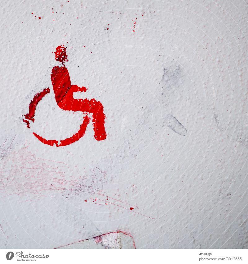 Barrierefrei Mauer Wand Rollstuhl Piktogramm Zeichen rot weiß Behindertengerecht Farbfoto Außenaufnahme Menschenleer Textfreiraum links Textfreiraum unten