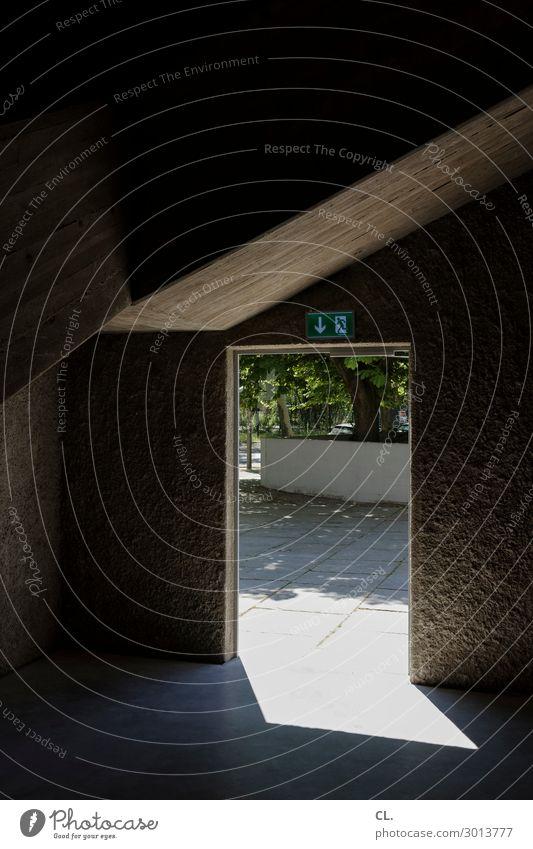 notausgang Baum Menschenleer Platz Bauwerk Gebäude Architektur Mauer Wand Tür Notausgang Schilder & Markierungen Hinweisschild Warnschild ästhetisch