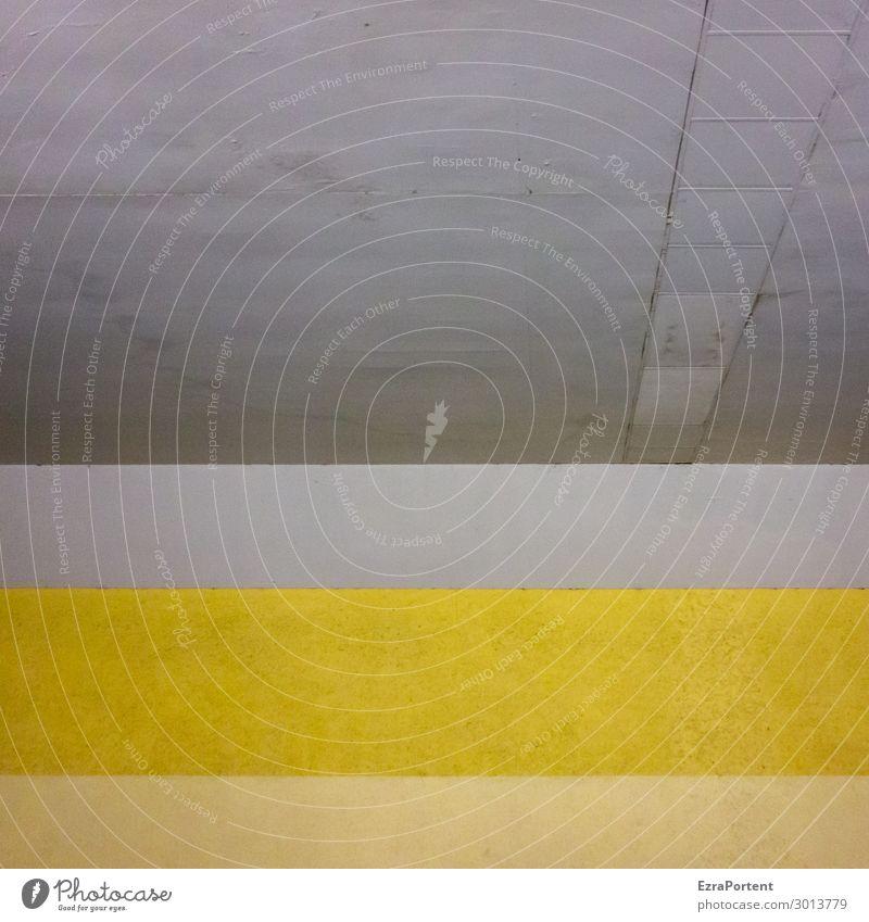 Unterführung Stadt Menschenleer Haus Bauwerk Gebäude Architektur Mauer Wand Fassade Beton Zeichen Linie Streifen gelb grau Farbe Decke Ecke