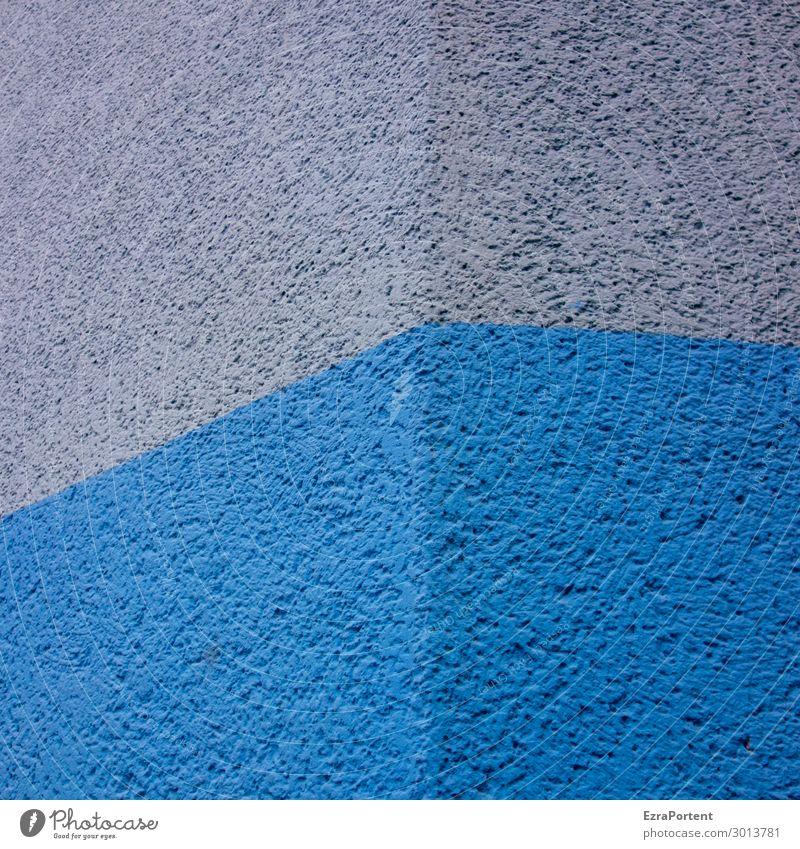 Blue Monday Menschenleer Haus Bauwerk Gebäude Mauer Wand Fassade Stein Beton Linie Streifen kalt blau grau ästhetisch Design Farbe Grenze Teilung graphisch