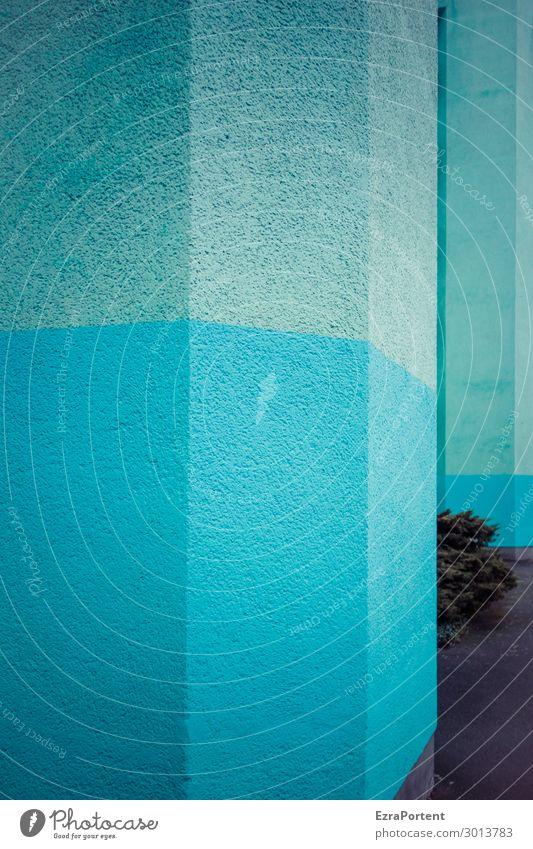 Zwischenbepflanzung Pflanze Sträucher Stadt Haus Bauwerk Gebäude Architektur Mauer Wand Fassade Beton Linie Streifen blau Farbe graphisch Grafik u. Illustration