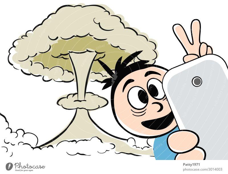 Katastroselphie - Dabei sein ist alles Lifestyle Kernkraftwerk Atompilz maskulin 1 Mensch Selfie Zeichen gestikulieren Lächeln bedrohlich verrückt Angst