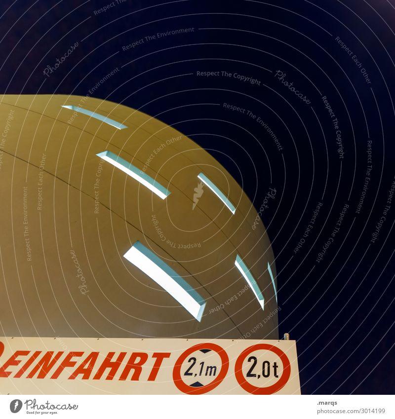 Einfahrt Stil Himmel Bauwerk Architektur Fassade Fenster Zeichen Hinweisschild Warnschild Verkehrszeichen leuchten trendy modern Zukunft rund Futurismus