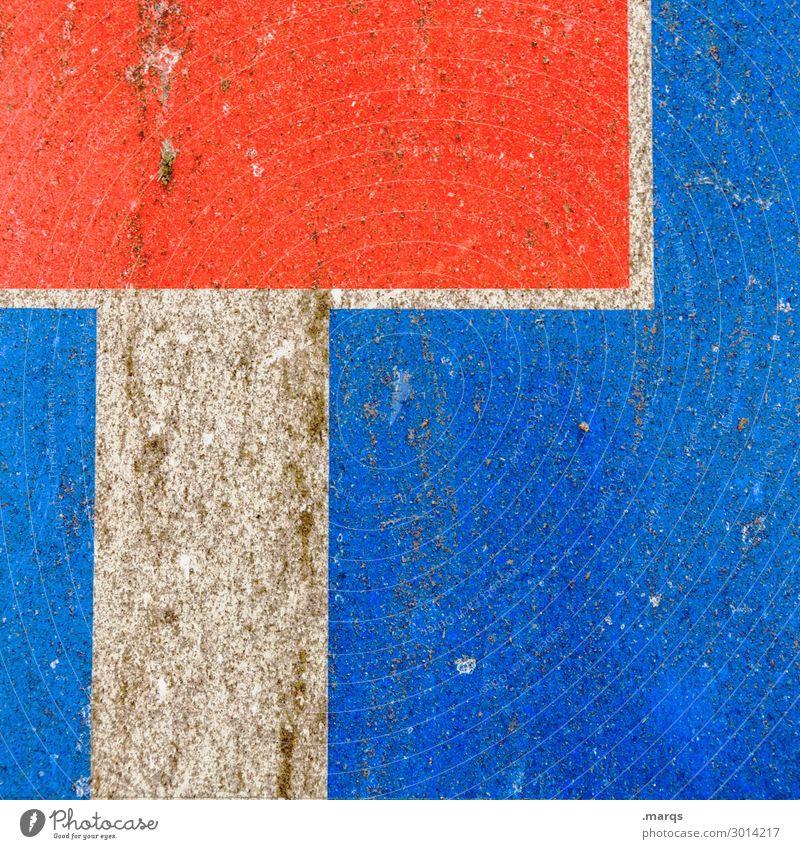 Sackgasse Verkehr Zeichen Schilder & Markierungen alt blau rot weiß Grafik u. Illustration Außenaufnahme Nahaufnahme Menschenleer Textfreiraum links