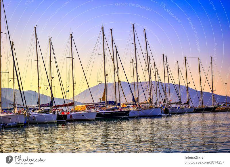 Segelboote im Hafen bei Sonnenuntergang schön Erholung Freizeit & Hobby Ferien & Urlaub & Reisen Tourismus Ausflug Abenteuer Kreuzfahrt Sommer Sommerurlaub Meer