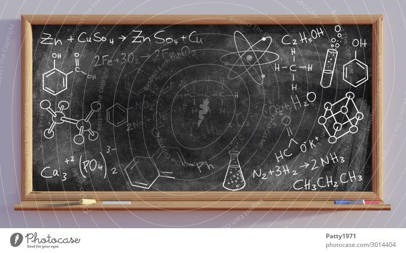 Chemische Formeln auf schwarzer Schultafel - 3D Render Bildung Wissenschaften Schule Tafel Studium Kreidezeichnung Schriftzeichen Zeichen Ziffern & Zahlen