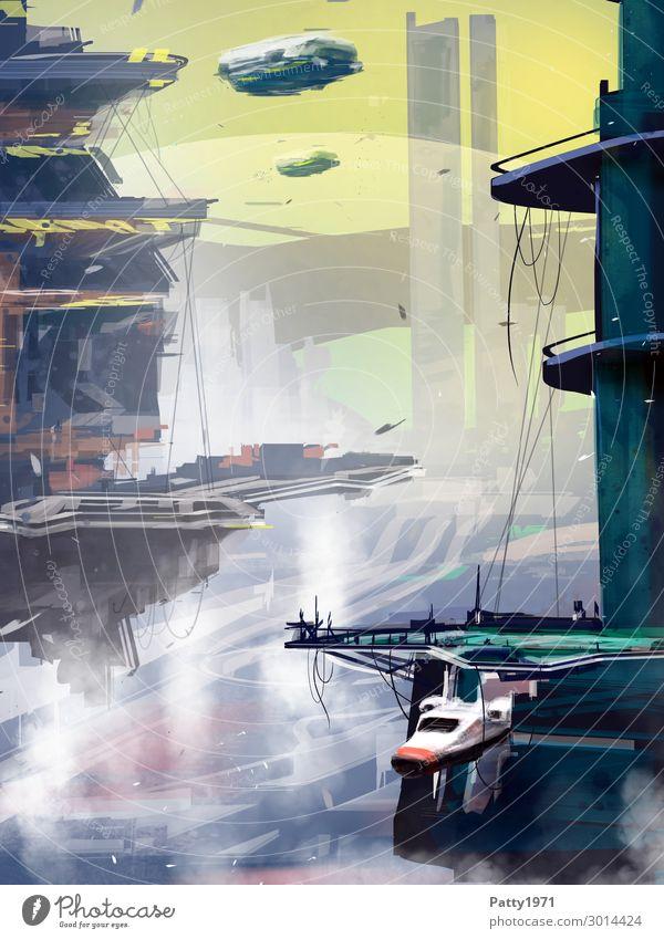 Docking Station - Illustration Stadt fliegen Technik & Technologie Luftverkehr Abenteuer Zukunft fantastisch Grafik u. Illustration Futurismus Tower (Luftfahrt)