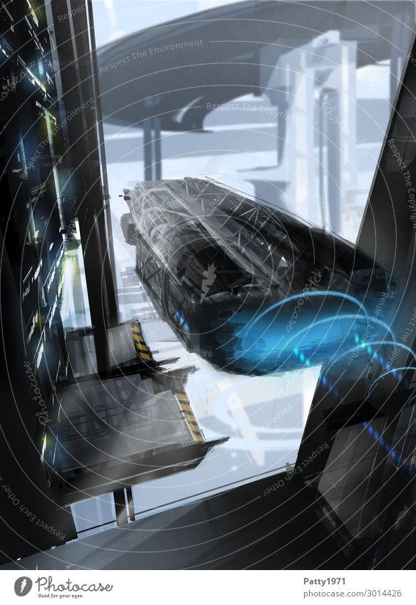 Leaving - Illustration Technik & Technologie Fortschritt Zukunft High-Tech Raumfahrt UFO Skyline Industrieanlage Luftverkehr Fluggerät fliegen fantastisch Stadt