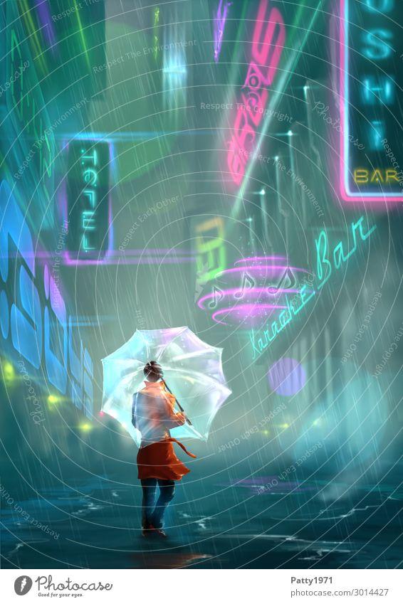 Neon Alley - Illustration Mensch Jugendliche Junge Frau Stadt Einsamkeit 18-30 Jahre Erwachsene feminin Fassade leuchten Schriftzeichen Hochhaus