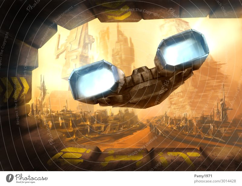 Alien Planet Explorer - Illustration Technik & Technologie Fortschritt Zukunft High-Tech Raumfahrt UFO Stadt Skyline Hochhaus Gebäude Architektur Luftverkehr