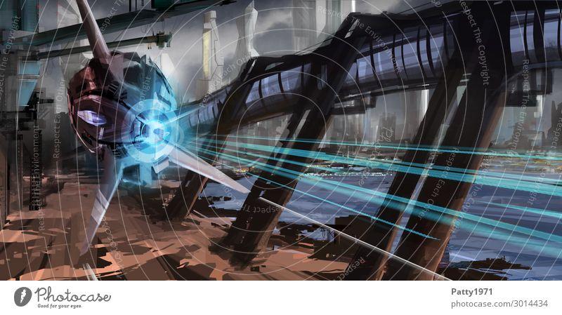 Fast Approach - Illustration Technik & Technologie Fortschritt Zukunft High-Tech Luftverkehr Raumfahrt UFO Stadt Skyline Hochhaus Industrieanlage Brücke Gebäude