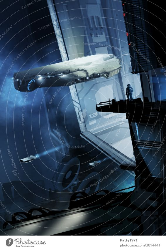 Observation Gantry - Illustration Mensch blau dunkel schwarz Tourismus außergewöhnlich fliegen Technik & Technologie Abenteuer Zukunft fantastisch