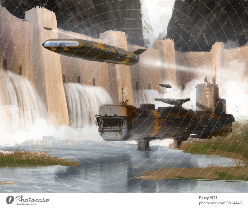 Staudamm - Illustration Natur Wasser Landschaft See fliegen Technik & Technologie Luftverkehr Abenteuer Zukunft Industrie Grafik u. Illustration Seeufer