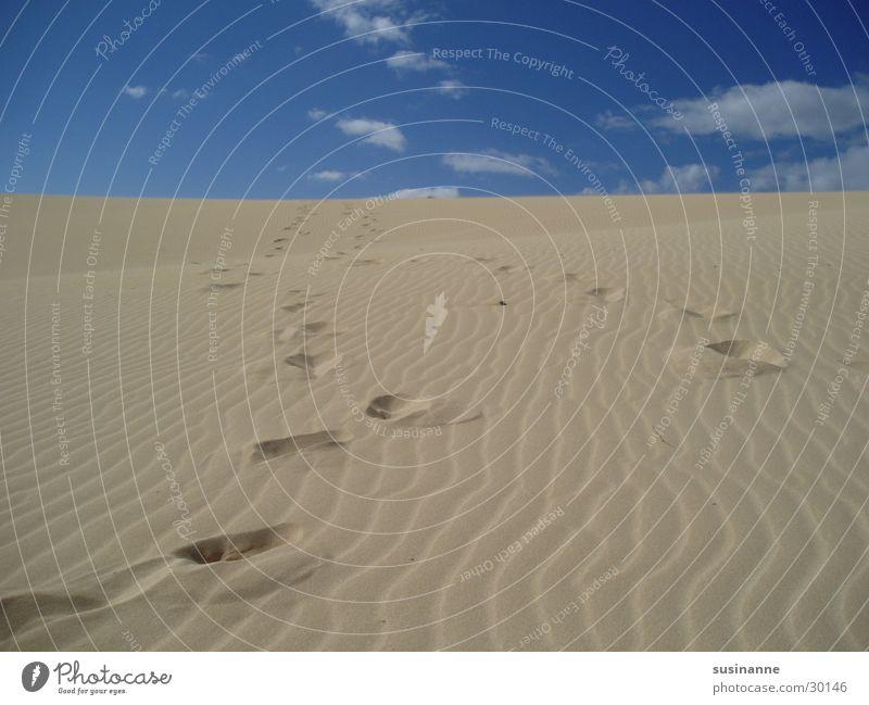 spuren im sand Ferien & Urlaub & Reisen Fuerteventura Sommer Strand Wolken Europa Sand Spuren Stranddüne Himmel