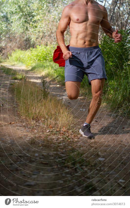 Läufer, der ohne Hemd durch das Feld läuft. Lifestyle Körper Sommer Sport Joggen Mensch Mann Erwachsene Natur Himmel Wege & Pfade Fitness heiß muskulös passen