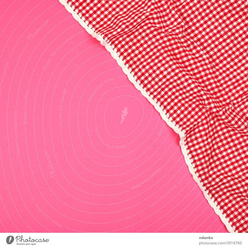 weißes rotes kariertes Küchentuch Design Dekoration & Verzierung Tisch Restaurant Stoff oben Sauberkeit rosa Farbe Tradition Hintergrund Decke Baumwolle Deckung