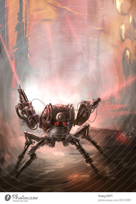 Pew! Pew! Pew! Roboter Mech Quadroped Mecha Laser Waffe Technik & Technologie Fortschritt Zukunft High-Tech Raumfahrt UFO fantastisch retro Stadt gefährlich