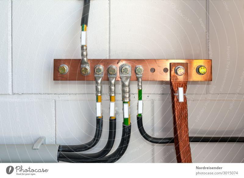 Erdungsschiene Wand Mauer Arbeit & Erwerbstätigkeit Metall Energiewirtschaft Technik & Technologie Industrie Elektrizität Baustelle Sicherheit neu Kabel Beruf