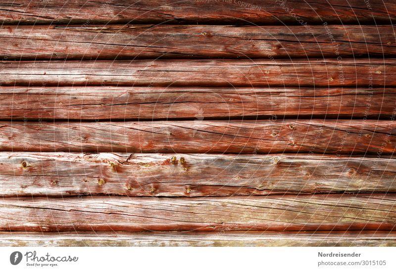 Holzhintergrund Dorf Fischerdorf Menschenleer Hütte Bauwerk Fassade alt nachhaltig Wärme braun rot Schutz Farbe Holzhaus Blockhaus Strukturen & Formen Patina