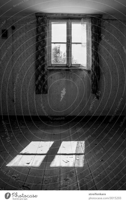 Licht scheint durch das Fenster eines lange verlassenen Raums und wirft einen hellen Schein auf den alten, leeren Fußboden Häusliches Leben Wohnung Haus Tapete