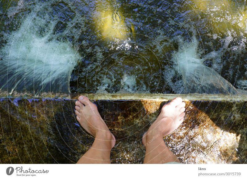 Hitzewelle Mensch maskulin Mann Erwachsene Beine 1 Wasser Park stehen Flüssigkeit nass Beginn Erholung stagnierend Wege & Pfade Kühlung Barfuß Farbfoto